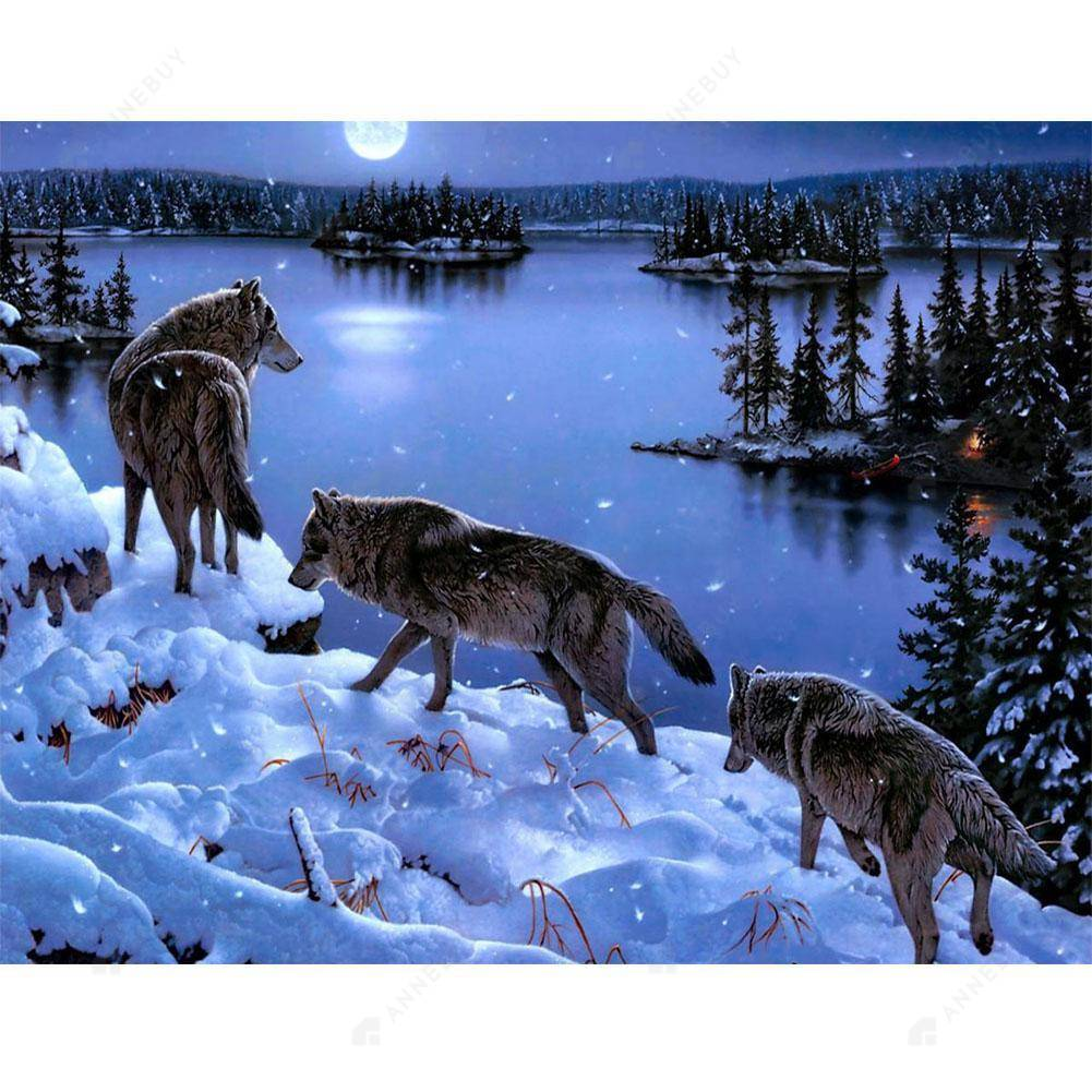 Diamond Painting-DIY Full Round Drill Wolves in Snow Night