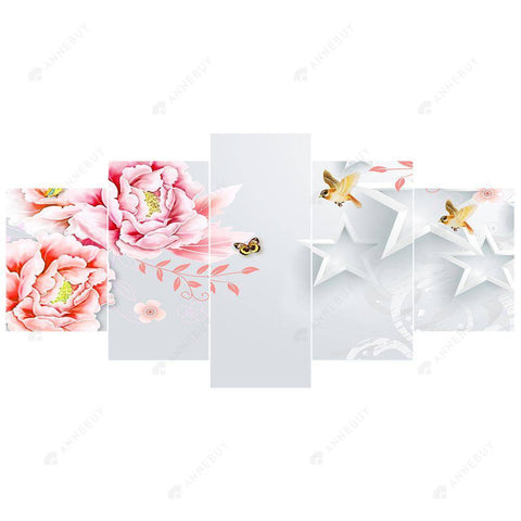 Diamond Painting-DIY Full Round Drill 5pc Flower Room Wall Decor