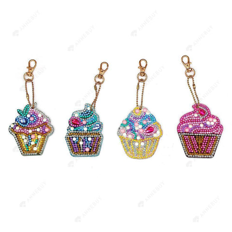 DIY Diamond Painting Keychain-4pcs/set Full Drill Rhinestones Cake Ice Cream Key Ring Pendant Gift