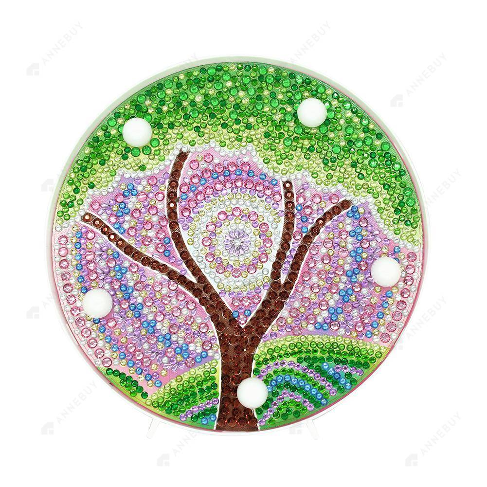 DIY Diamond Painting LED Lamp Full Drill Rhinestones Colorful Tree Kid Room Decor