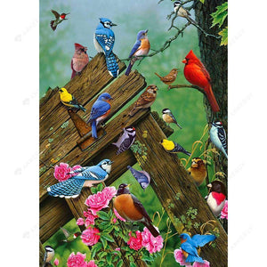 Diamond Painting-DIY Full Square Drill Colorful Sparrows Birds