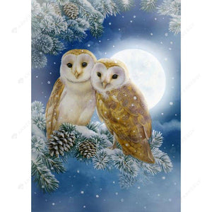 Diamond Painting-DIY Full Square Drill Owl in Moon Night