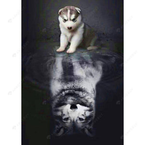 Diamond Painting-DIY Full Square Drill Reflection of a Dog
