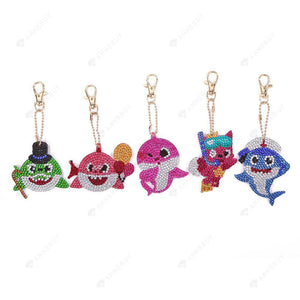 DIY Diamond Painting Keychain-5pcs/Set Full Drill Rhinestones Sharks Pendant