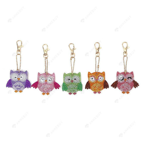 DIY Diamond Painting Keychain-5pcs/Set Full Drill Rhinestones Owl Pendant