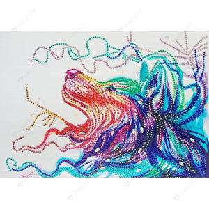 Diamond Painting-DIY Rhinestones Partial Drill Wolf