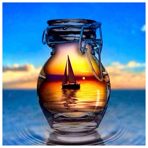 Diamond Painting-DIY Full Round Drill Sailing Boat in the Bottle