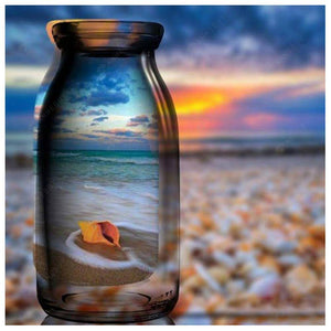 Diamond Painting-DIY Full Round Drill Beach in the Bottle