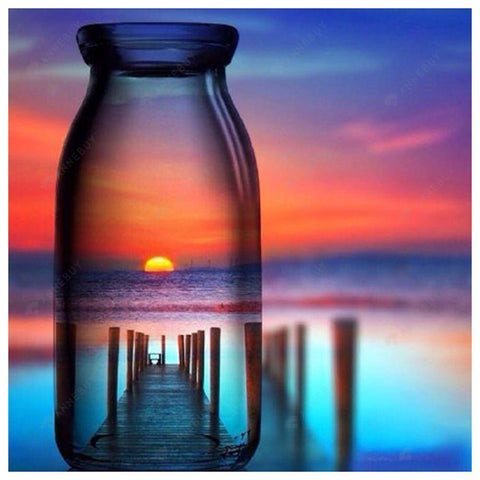 Diamond Painting-DIY Full Round Drill Sunset in the Bottle
