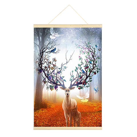 Hanging Diamond Painting-DIY Full Round Drill Forest Deer(No need for frame)