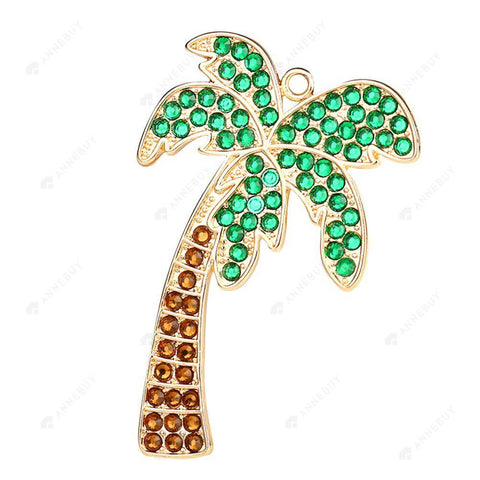 DIY Diamond Keychain/Necklace-Full Round Drill Coconut Tree