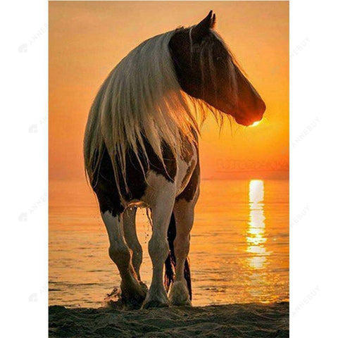 DIY Diamond Painting-Full Round Drill Beautiful Horse in Sunset