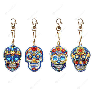 DIY Diamond Painting Keychain-4pcs/set Full Drill Skull Ornament Pendant Gift