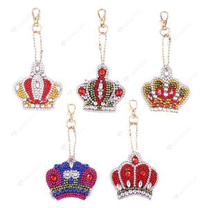 DIY Diamond Painting Keychain-5pcs/set Full Drill Rhinestones Crown Pendant Gift