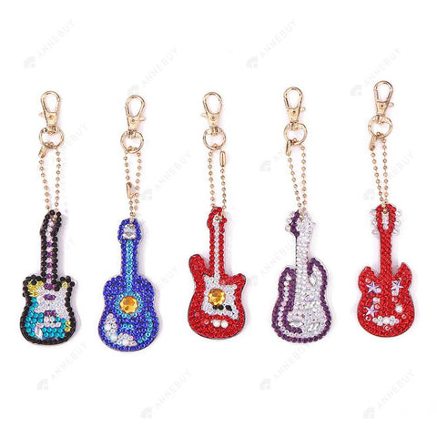 DIY Diamond Painting Keychain-5pcs/set Full Drill Rhinestones Violin Pendant Gift