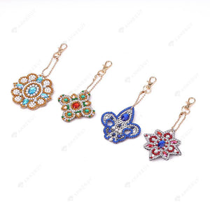 DIY Diamond Painting Keychain-4pcs Full Drill Rhinestones Chic Flowers Key Pendant