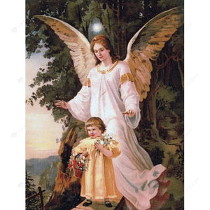 Diamond Painting-DIY Full Round Drill Angel Mom and Son