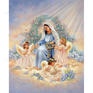 Diamond Painting-DIY Full Round Drill Angel Mother and Children