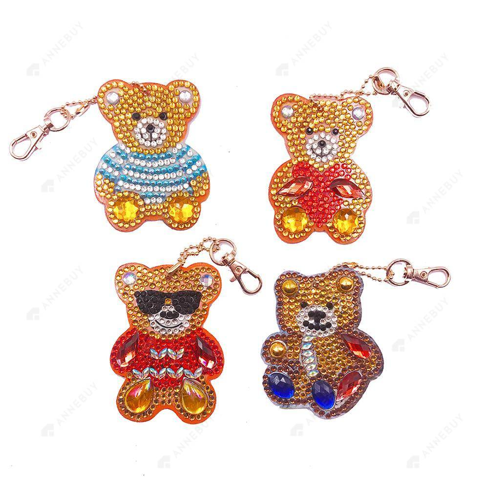 DIY Diamond Painting Keychain-Partial Crystal Rhinestones 4pcs/set Cute Bear