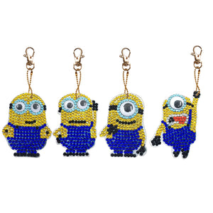 DIY Diamond Painting Keychain-4pcs/Set Minions Bag Keychain Jewelry Gift