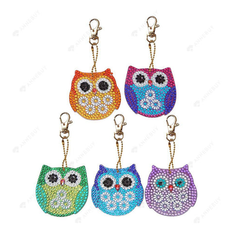 DIY Diamond Painting Keychain-5pcs/set Full Drill Rhinestones Colorful owl