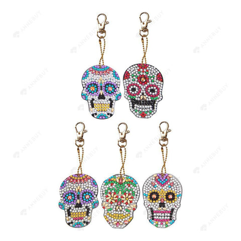 DIY Diamond Keychain-5pcs/set Full Drill Crystal Rhinestones Skull
