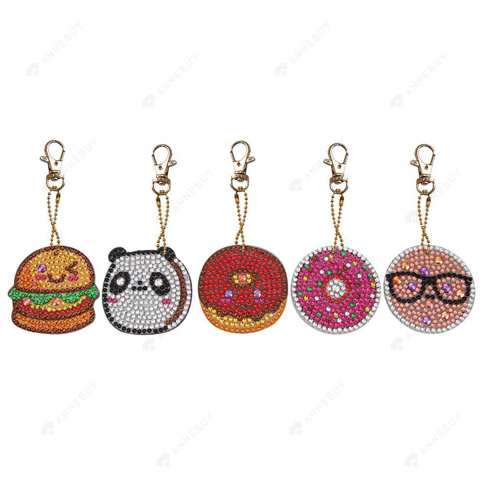 DIY Diamond Painting Keychain-5pcs/set Full Drill Crystal Rhinestones Donuts