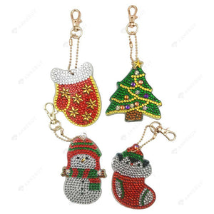 DIY Diamond Painting Keychain-4pcs/set Full Drilll Crystal Rhinestones Christmas