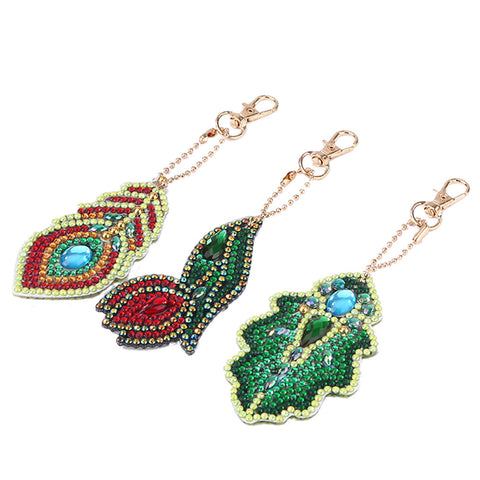 DIY Diamond Painting Keychain-3pcs/set Leaves