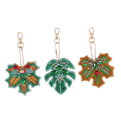 DIY Diamond Painting Keychain-3pcs/Set Leaves Keychain Jewelry Gift