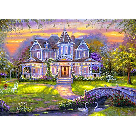 Diamond Painting-DIY Full Round Drill Purple Wisteria House