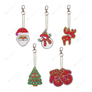 DIY Diamond Painting Keychain-5pcs/set Full Drill Rhinestones Christmas Pendant Gift
