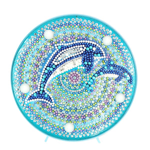 DIY Diamond Painting LED Lamp Full Drill Rhinestones Dolphins Room Decor