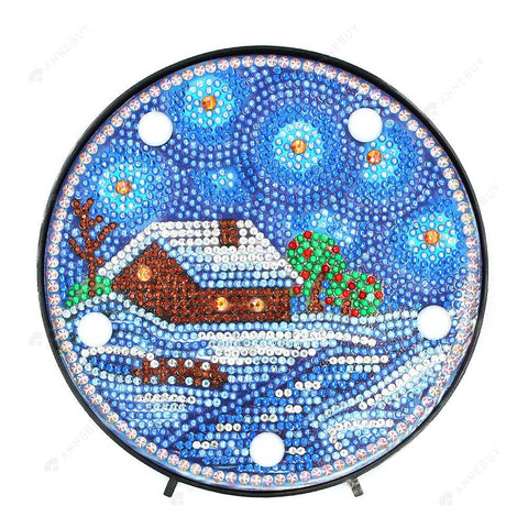 DIY Diamond Painting LED Lamp Full Drill Rhinestones Snow House Room Decor