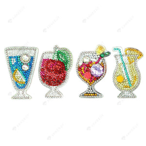 DIY Diamond Painting Keychain-4pcs/set Full Drill Crystal Rhinestones Drink Cup