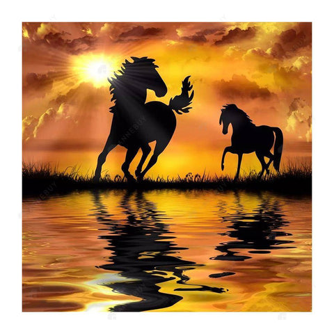 Diamond Painting-DIY Full Square Drill Sunset Horses