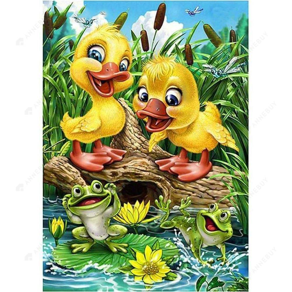 Diamond Painting-5D Full Round Drill Cute Duckling
