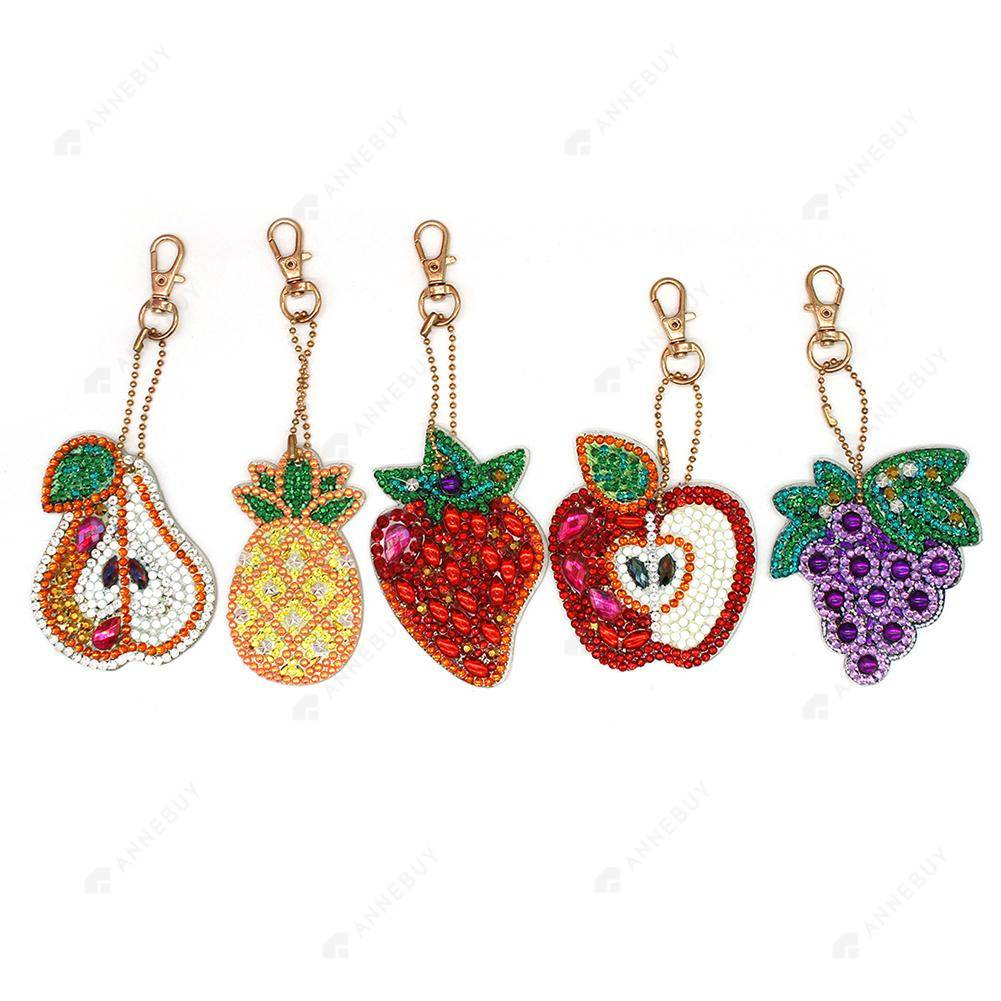 DIY Diamond Painting Keychain-5pcs/set Full Drill Rhinestones All Kinds of Fruit Pendant Gift