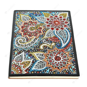 DIY Crystal Rhinestones Diamond Painting Paisley Pattern Flower Notebook