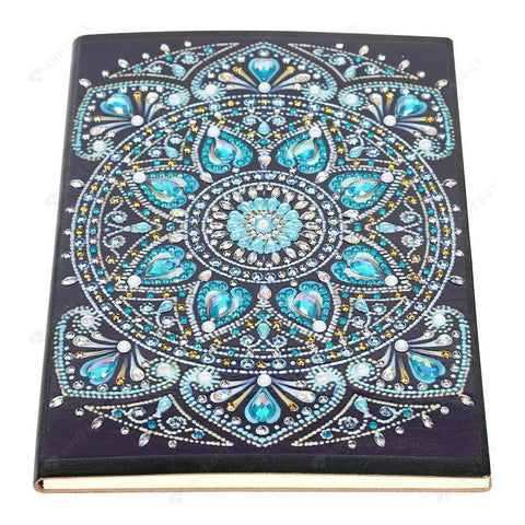 DIY Crystal Rhinestones Diamond Painting Blue Mandala Notebook