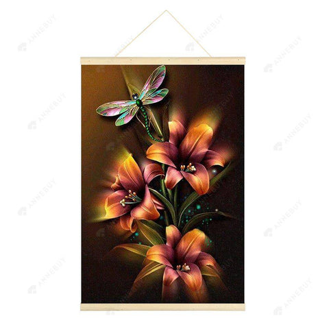 Hanging Diamond Painting-DIY Full Round Drill Lilies Butterflies(No need for frame)