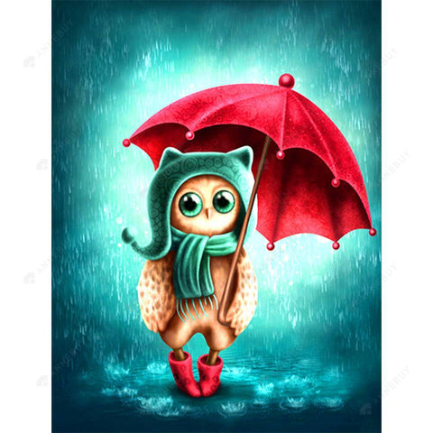 Diamond Painting-5D Full Square Drill Owl Girl