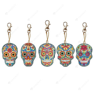 DIY Diamond Keychain-5pcs/set Full Drill Crystal Rhinestones Coloured Skull
