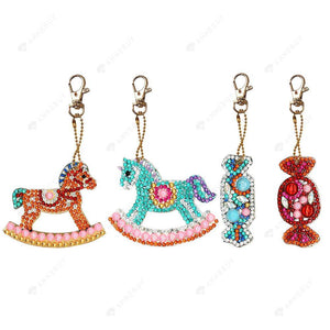 DIY Diamond Keychain-4pcs/set Full Drill Crystal Rhinestones Horse Candy