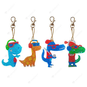 DIY Diamond Keychain-4pcs/set Full Drill Crystal Rhinestones Small Dinosaur
