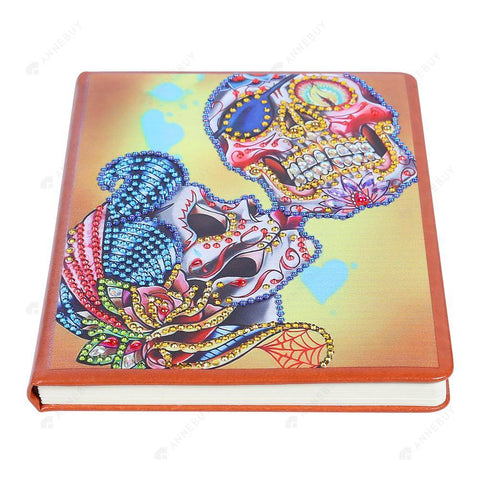 DIY Crystal Rhinestones Diamond Painting Skull 100 Pages Notebook Sketchbook