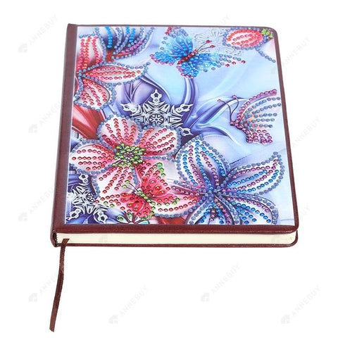 DIY Crystal Rhinestones Diamond Painting Flower 100 Pages Notebook Sketchbook