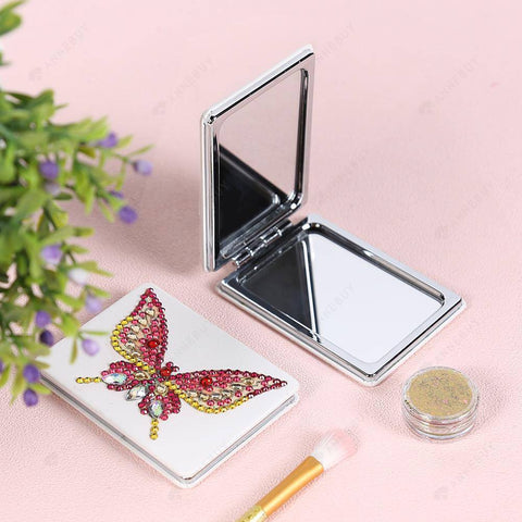 Diamond Painting Mini Makeup Vanity Mirror-DIY Crystal Rhinestone Colorful Butterfly