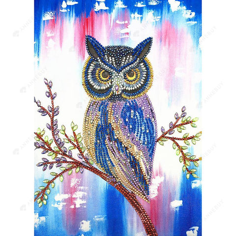 Diamond Painting-DIY Crystal Rhinestone Fierce Owl