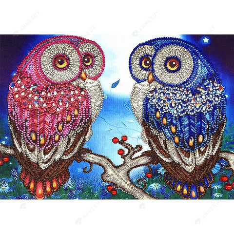 Diamond Painting-DIY Crystal Rhinestone Lovely Owls